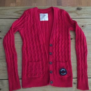 Hollister long cardigan; Red; size small